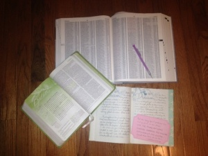 My bible, journal and concordance